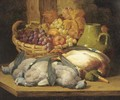 Dead game, grapes and apples in a wicker basket - William Duffield