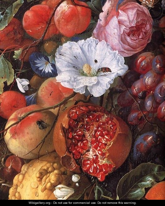 Festoon of Fruit and Flowers (detail) 1660 - Jan Davidsz. De Heem