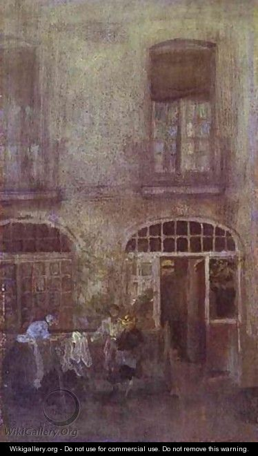 White And Grey The Hotel Courtyard Dieppe 1885 - James Abbott McNeill Whistler