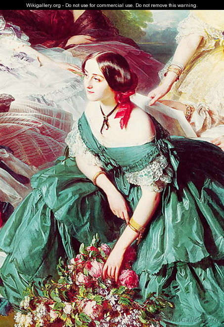 Empress Eugenie and her Ladies in Waiting detail of the Marquise of Montebello 1855 - Franz Xavier Winterhalter