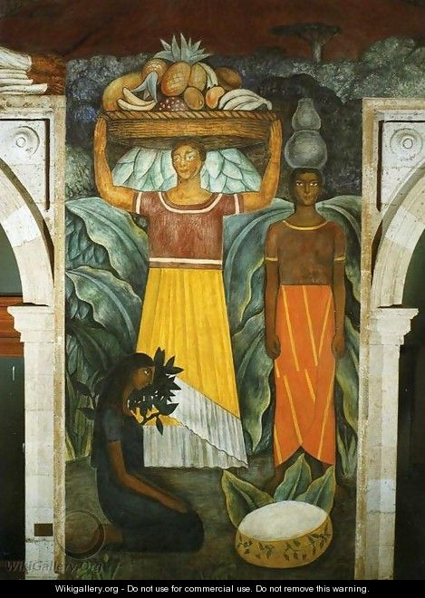 Political Vision of the Mexican People Tehuana Women (Mujeres tehuanas) 1923 Fresco north wall Ministry of Public Education Mexico City Mexico - Diego Rivera