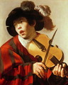 Boy Playing Stringed Instrument and Singing 1627 - Hendrick Terbrugghen