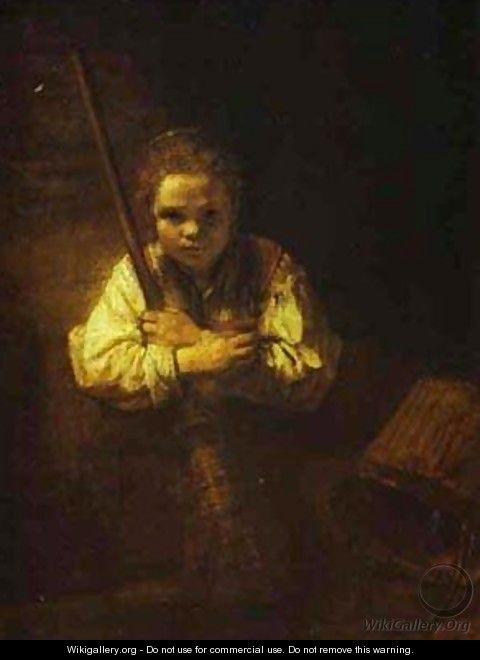 A Girl With A Broom 1651 - Harmenszoon van Rijn Rembrandt