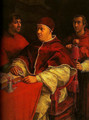 Portrait of Leo X with Cardinals Giulio de Medici and Luigi de Rossi - Raphael