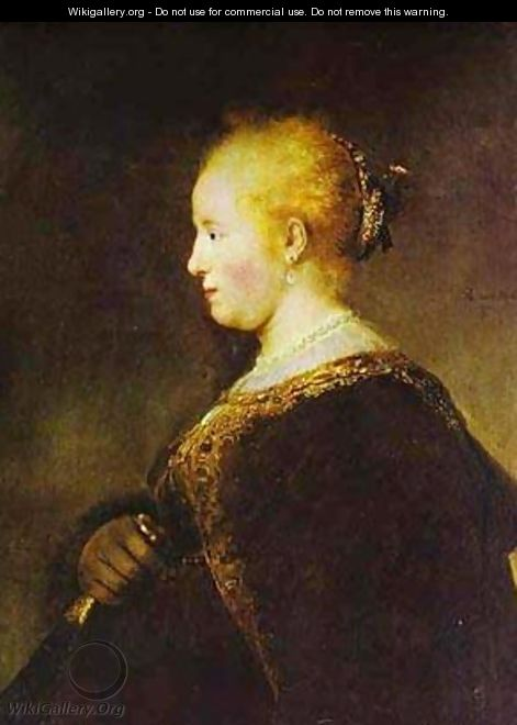 Portrait Of A Young Woman With The Fan 1632 - Harmenszoon van Rijn Rembrandt
