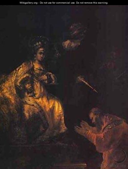 Haman Begging Esther For Mercy 1655 - Harmenszoon van Rijn Rembrandt