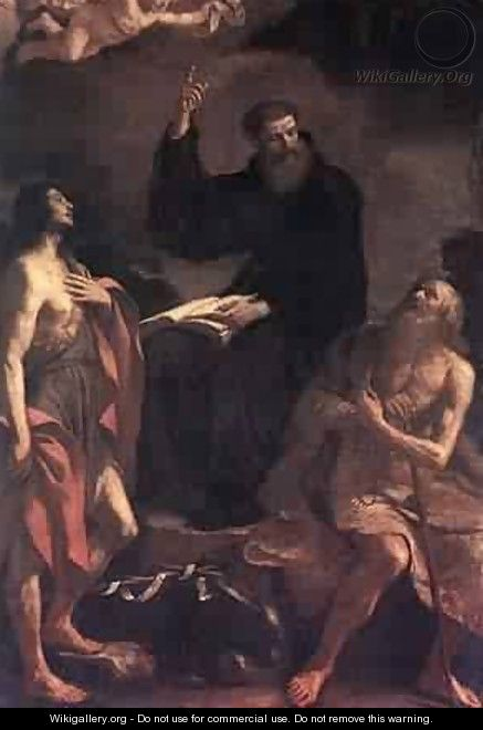 St Augustine St John The Baptist And St Paul The Hermit - Guercino