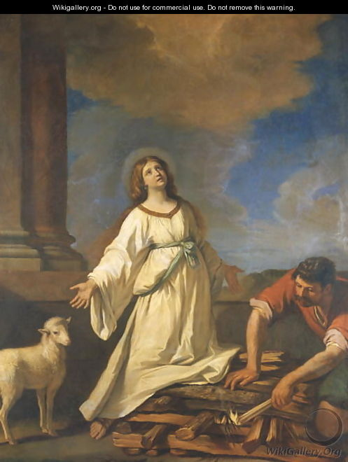St Agnes on the Pyre - Guercino