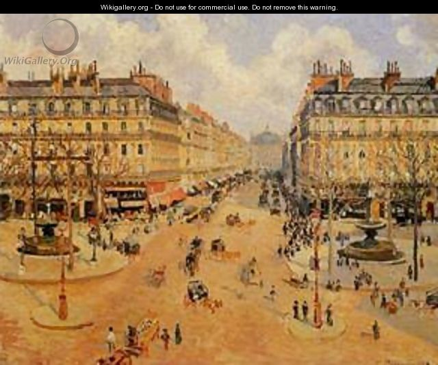 Avenue de l Opera Place du Thretre Francais Misty Weather 1898 - Camille Pissarro