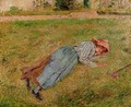 Resting Peasant Girl Lying on the Grass Pontoise 1882 - Camille Pissarro