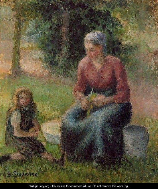 Peasant Woman and Her Daughter Eragny 1903 - Camille Pissarro