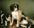 A spaniel with two puppies - Giuseppe Palizzi
