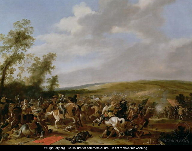 Battle Scene at Lutzen between King Gustavus Adolfus of Sweden against the Troops of Wallenstein 1632 - Anthonie Palamedesz. (Stevaerts, Stevens)