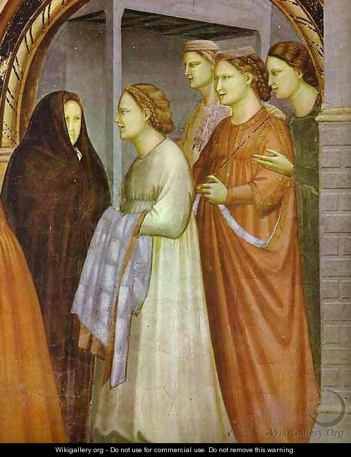 The Meeting At The Golden Gate Detail 1304-1306 - Giotto Di Bondone