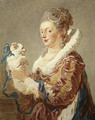 Portrait of a Woman with a Dog - Jean-Honore Fragonard