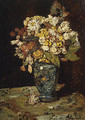 Flowers in a Blue Vase - Adolphe Joseph Thomas Monticelli
