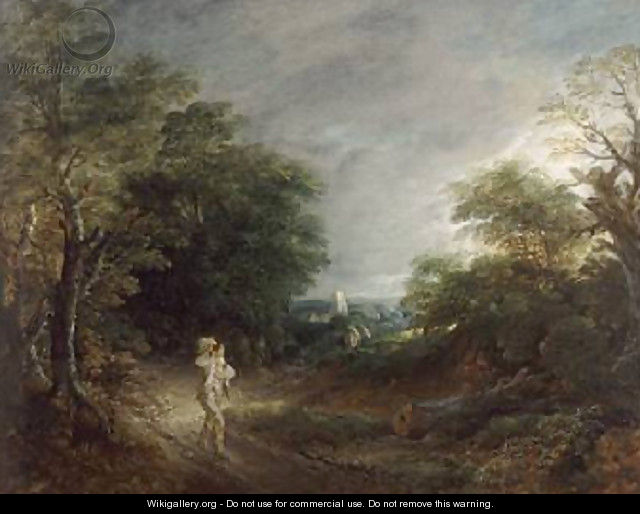Wooded Landscape with a Woodcutter 1762 63 - Thomas Gainsborough