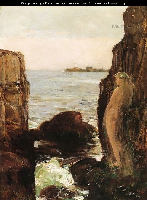 Nymph on a Rocky Ledge - Frederick Childe Hassam