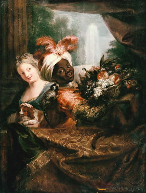 Young Black Man Holding a Basket of Fruit and a Young Girl Stroking a Dog - Charles-Antoine Coypel