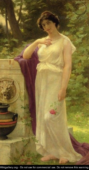 Young Woman with a Rose - Guillaume Seignac