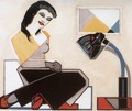 Young Woman with Geometrical Picture and Bauhaus Lamp - Tibor Boromisza