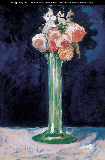 Roses in a Green Vase c 1900 - Gyula Batthyany