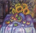Still life with Apples and Sunflowers - Janos Kmetty