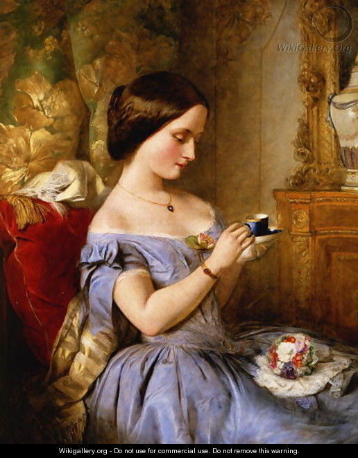 Taking Tea in the Drawing Room - Arthur Hughes