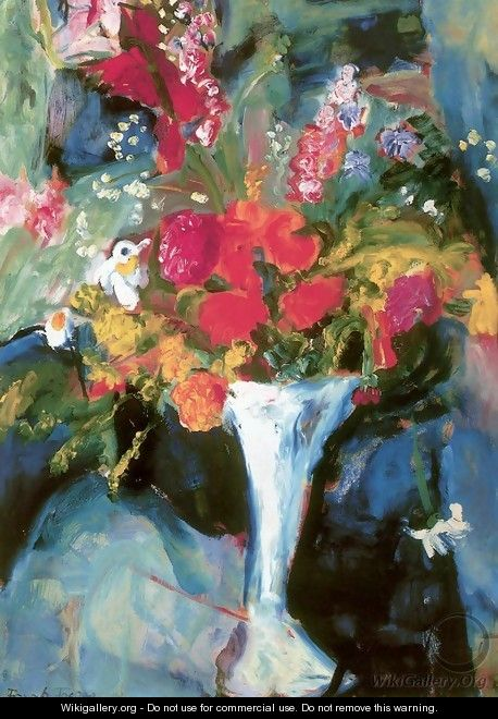 Flowers in a Blue Vase 1929 - Ferenc Hatvany