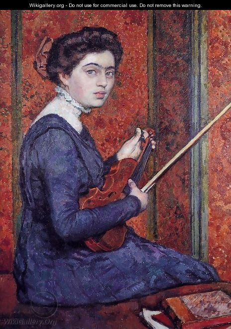 Woman with Violin (aka Portrait of Rene Druet) 1910 - Theo Van Rysselberghe