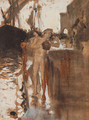 The Balcony Spain and Two Nude Bathers Standing on a Wharf - John Singer Sargent