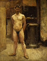 A Male Model Standing before a Stove - John Singer Sargent