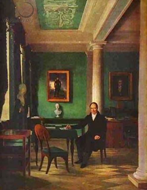 Portrait Of The State Chancellor Of The Internal Affairs Prince Victor Pavlovich Kochubey In His Study 1831-1834 - Aleksei Gavrilovich Venetsianov