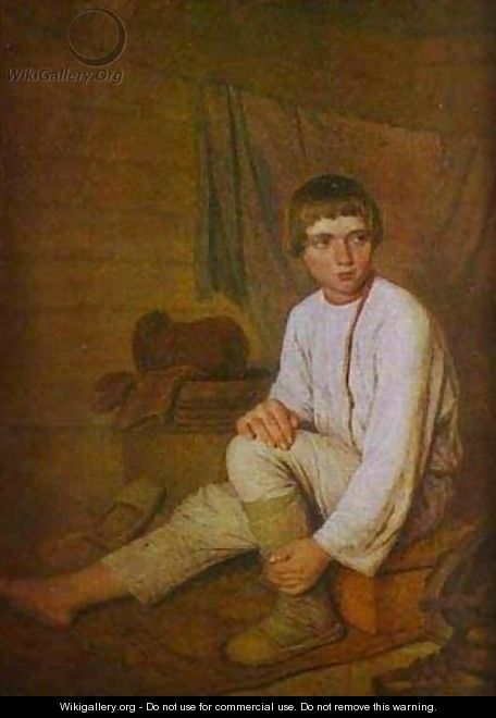 Peasant Boy Putting On Bast Sandals 1823-1827 - Aleksei Gavrilovich Venetsianov