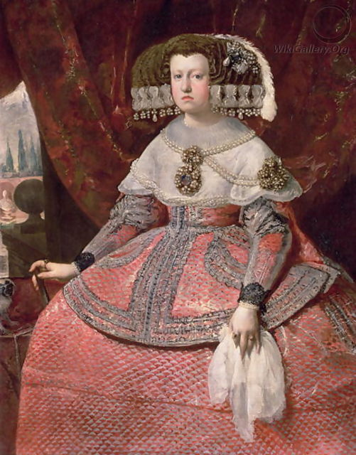Queen Maria Anna of Spain in a red dress 1655 60 - Diego Rodriguez de Silva y Velazquez