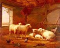 Sheep With Chickens And A Goat In a Barn - Eduard Veith