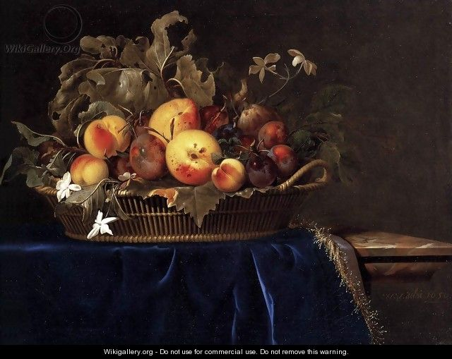 Still Life with a Basket of Fruit on a Marble Ledge 1650 - Willem Van Aelst