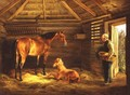 English Mare With Her Foals 1833 - Albrecht Adam