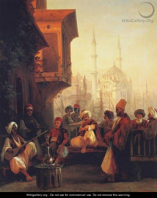 Coffee house by the Ortakoy Mosque in Constantinople - Ivan Konstantinovich Aivazovsky