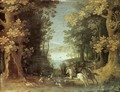 Landscape with a Deer Hunt - Sebastien Vrancx