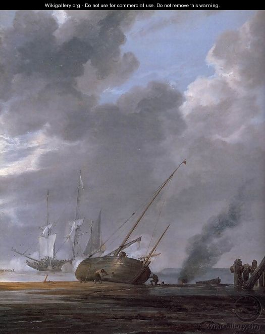 Seascape in the Morning (detail) - Simon De Vlieger
