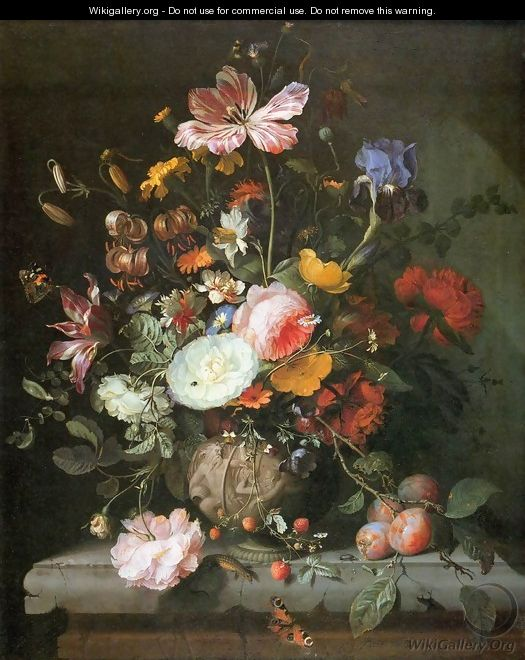 Flowers in a Stone Vase - Jacob van Walscapelle