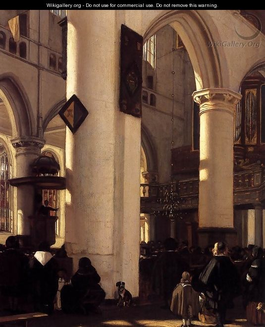 Interior of a Protestant Gothic Church (detail) - Emanuel de Witte