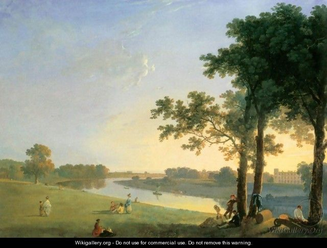 View of Syon House across the Thames near Kew Gardens - Richard Wilson