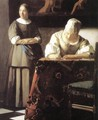 Lady Writing a Letter with Her Maid (detail) 2 - Jan Vermeer Van Delft