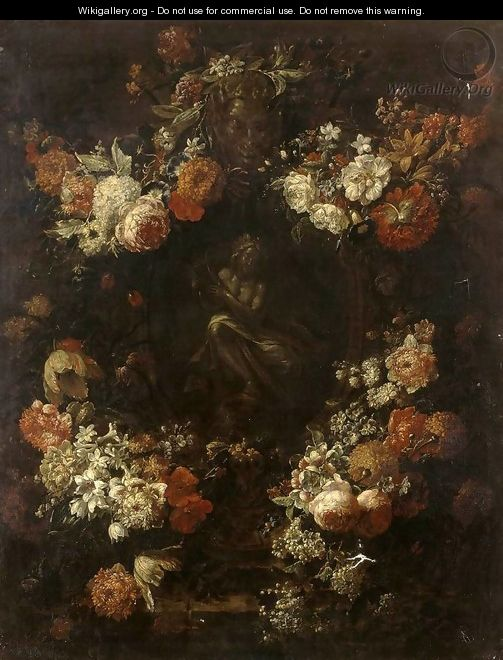 Apollo the Kithara Player Framed with a Garland of Flowers - Gaspar-pieter The Younger Verbruggen