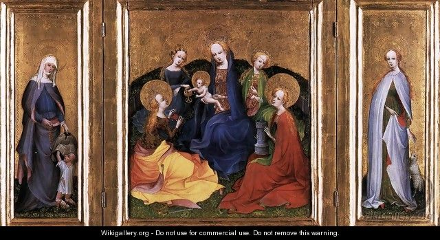 Triptych Madonna and Child with Saints - German Unknown Masters