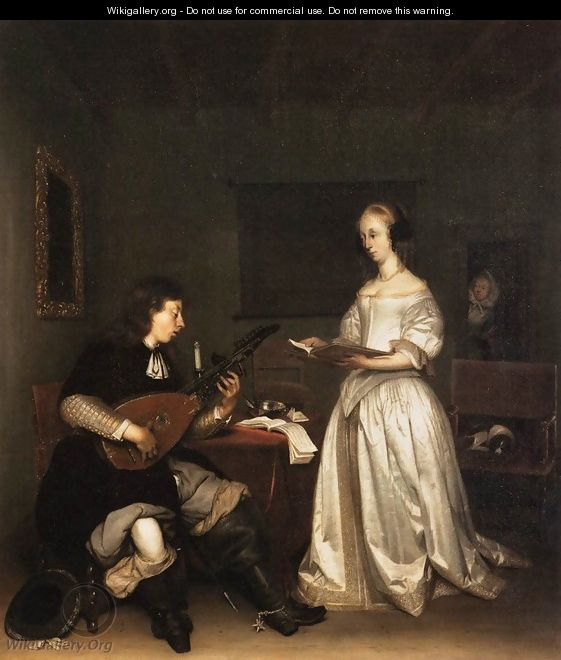 The Duet Singer and Theorbo Player - Gerard Terborch