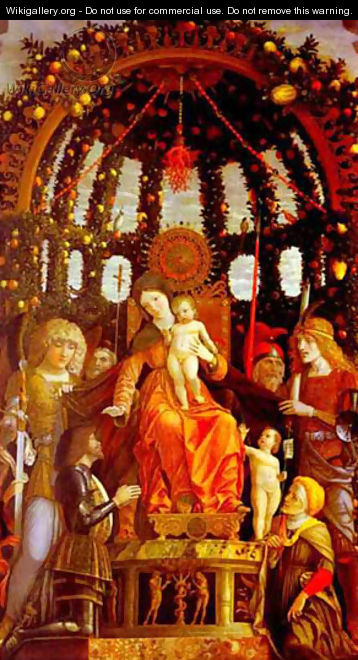 Virgin And Child Surrounded By Six Saints And Gianfrancesco Li Gonzaga Known As The Madonna Of Victory 1495 - Andrea Mantegna