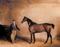Mr C N Hoggs Claxton and a Groom in a Stable - John Jnr. Ferneley